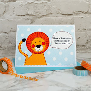 'Lion' Personalised Message Birthday Card