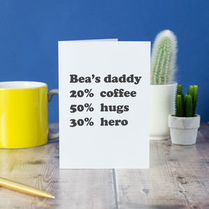 Personalised Percentage First Father's Day Card