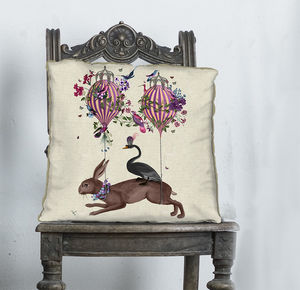 Hare And Hot Air Balloons Decorative Cushion