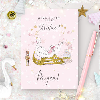 Personalised Nutcracker Christmas Card 'Swan'