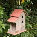 Personalised Double Wooden Birdhouse With Red Roof