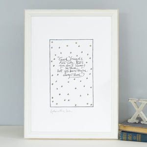 Friendship Art Print 'Good Friends Are Like Stars' Gift