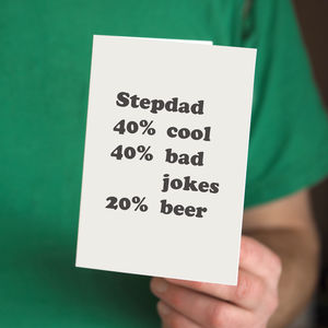 Personalised Percentage Stepdad Card - cards for step dads