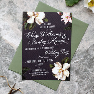 Black Magnolia Wedding Invitation Suite