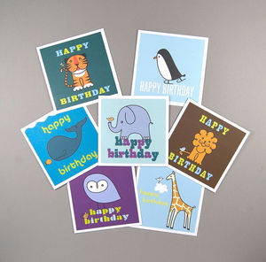 Set Of Seven Animals Birthday Cards - birthday cards