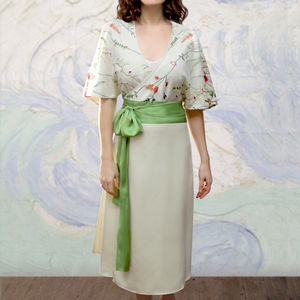 Wrap Dress In Meadow Flower Ivory Crepe