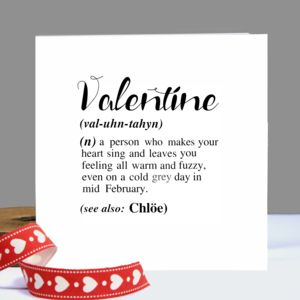 Personalised 'Valentine's' Definition Card