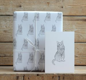 Cat Gift Wrap With Tags