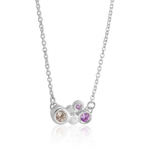 Sapphire And Morganite Silver Necklace