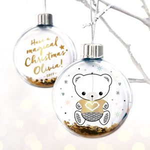Personalised Magical Christmas Teddy Bear Bauble - christmas decorations