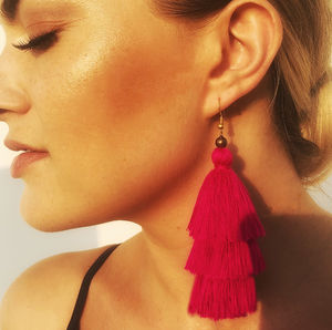 Tassel Earrings In Ruby