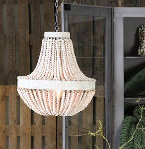 Large Beaded Ivory Chandelier - ceiling lights