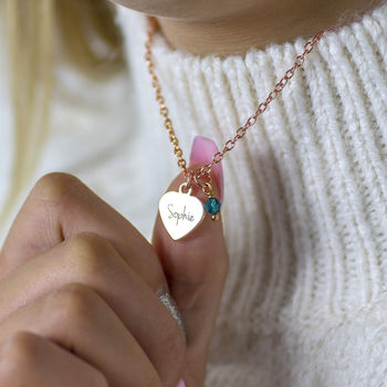 Personalised Rose Gold Heart Necklace
