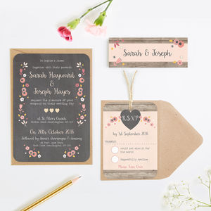 Berry Floral Chalkboard Wedding Invitations - engagement & wedding invitations