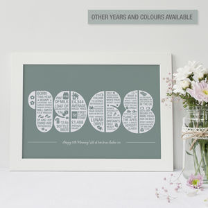 Personalised Year Memory Print - 21st birthday gifts