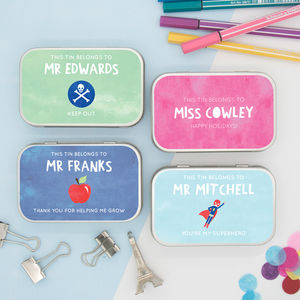 Personalised 'Thank You Teacher' Gift Tins - gifts for teachers
