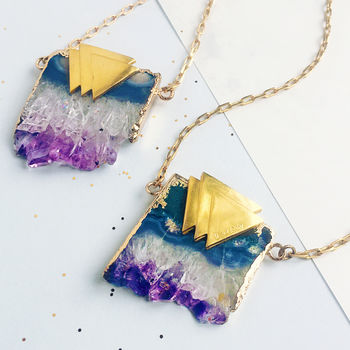 Personalised Amethyst Geometric Triangle Necklace