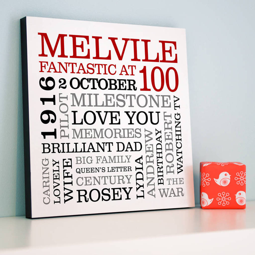 Personalised 100th Birthday Typographic Art