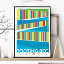 London Art Print Of The Colourful Tooting Bec Lido