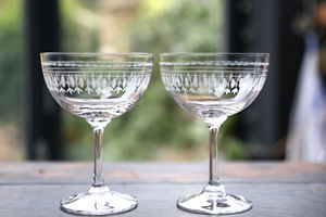Pair Of Ovals Champagne Saucers - drink & barware