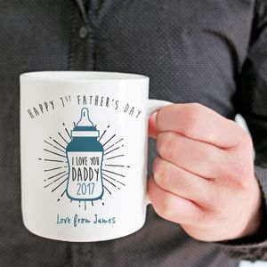 Personalised Baby Bottle 'First Father's Day' Mug