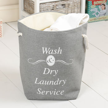 Wash And Dry Grey Drawstring Laundry Bag