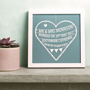 Personalised Wedding Heart Print - posters & prints