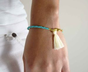 Friendship Beaded Tassel Bracelet Turquoise - women's