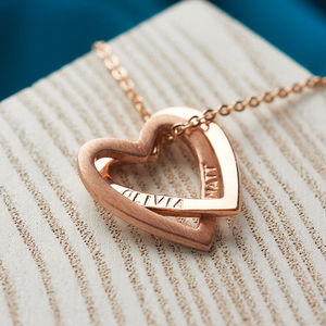 Solid Rose Gold Interlocking Hearts Necklace - gifts for her