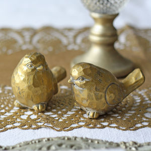 Gold Love Birds Set Of Two - cake toppers & decorations