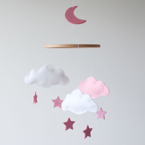 Cloud Star And Moon Baby Mobile White And Pink