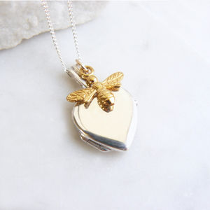 Heart Locket With Gold Bee Charm Necklace