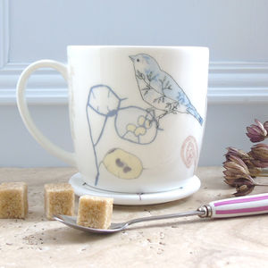 Honesty Seedheads And Chaffinch Bone China Mug