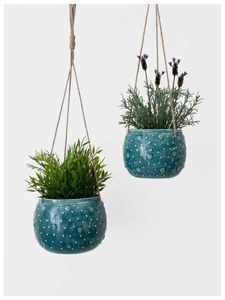 Enamel Hanging Planter New Colours Added - kitchen