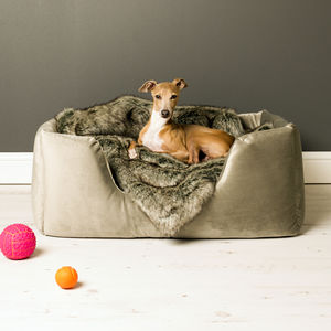 Charley Chau Deep Sided Dog Bed In Velour - beds & sleeping