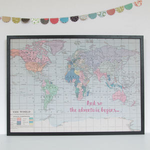 Printed Quote World Map Noticeboard - textile art