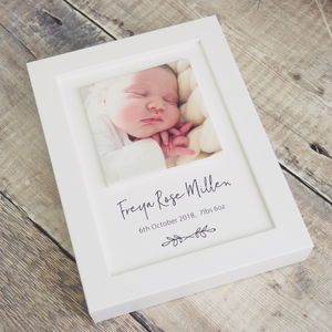 Personalised Baby Photo Clay Tile Framed Print