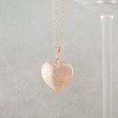 Rose Gold Diamond Cut Striped Heart Necklace