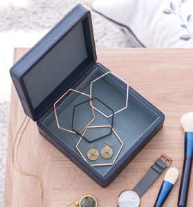Blue Leather Jewellery Box - sale