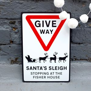 Christmas Give Way Metal Road Sign - christmas sale