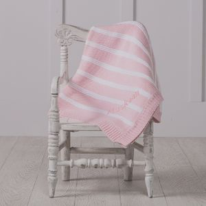 Personalised Striped Pink Baby Blanket