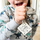 Daddy Est Personalised Star Wooden Keyring
