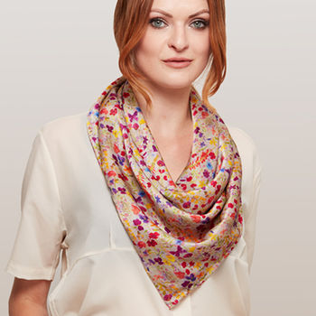 Botanical Square Silk Scarf