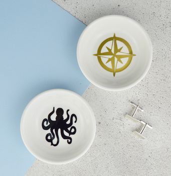 Cufflinks And Ring Dish Octopus And Compass