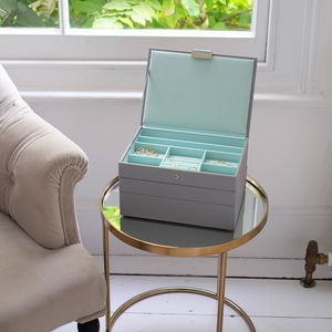Dove Grey With Mint Classic Jewellery Box - 50th birthday gifts
