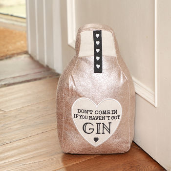 Pink Glitzy Gin Bottle Door Stop