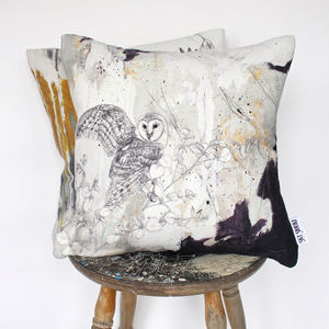 'Barn Owl' Printed Linen Cushion - cushions
