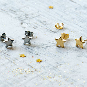 Personalised Shiny Star Earrings
