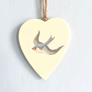Swallow Illustration Ceramic Heart Decoration - home accessories