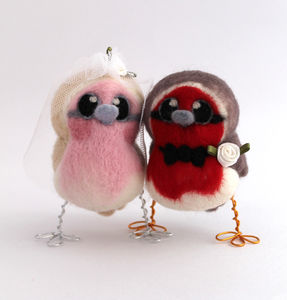 Bride And Groom Robin Bird Wedding Cake Topper